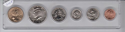 2005 Birth Year Coin Set- 6 Coins- Dollar, Half Dollar, Quarter, Dime, Nickel, and Cent Encased in A Plastic Hiolder Collection