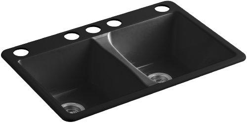 KOHLER K-5873-5U-7 Deerfield Double Bowl Undermount Kitchen Sink with Five (Black Deerfield Kitchen Sink)