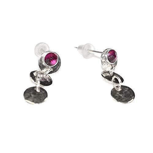 Silver 3mm Ruby Post Earrings/Tiny Stud Earrings, Ruby ()