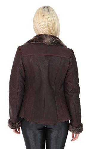 Merino Goods Shearling A1 Réel Peau Mouton Veste Fashion Court Marron Ee Fitted Coiffer Femmes Manteau Faith Biker En 5qxq7w1C