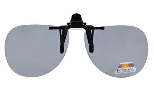 Aviator Clip - Eyekepper Pilot Style Flip up Polarized Clip-on Sunglasses Grey