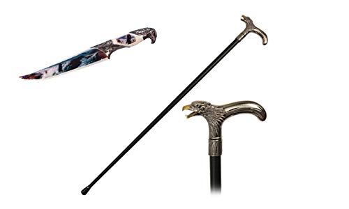 """36"""" Eagle Head T Style Handle Steel Metal Gentlemen Walking Cane Stick & 13"""" Eagle"""