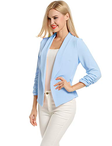 Business Suit for Women Plus Size Light Blue Oversized Blazer for Women (Light Blue, XXL)