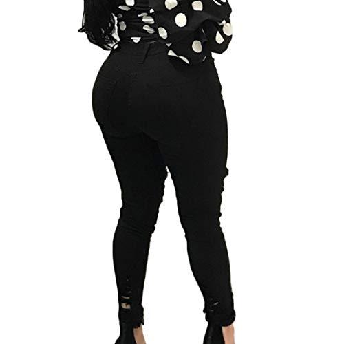 A Arricciati Donna Ginocchio Tasca Bordi Alta Casual Elasticizzato Skinny Afflosciata Da Con Nero Di Elastico Forma Caviglia Fulision Vita Jeans gqwff5