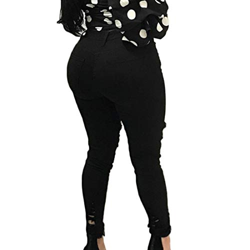 Dobladillo Alta Cintura Deshilachado de Rodilla Mujeres Jeans Huicai Distressed Bordado Negro Skinny Stretch la Las Estilo de Skinny Tobillo de elástico Bolsillo Casual Twxaqnqt5E