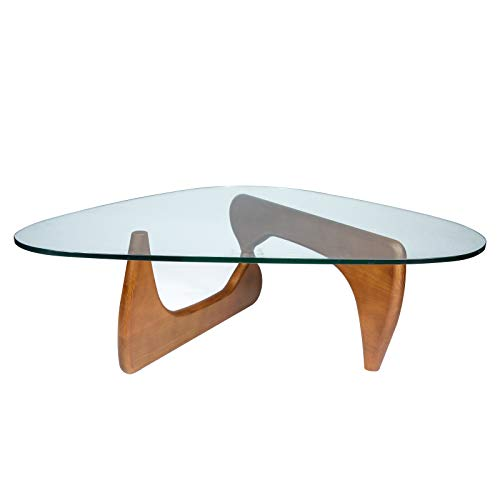 - LeisureMod Imperial Glass Top Triangle Coffee Table (Light Walnut)