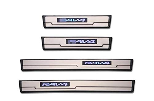 For Toyota RAV4 2014 15 16 2017 Fashion Style ABS+ Stainless Steel LED Door Sill Scuff Plate Guard Sill Protector Trim OLIKE