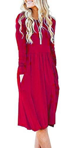 AUSELILY Women's Long Sleeve Pockets Empire Waist Pleated Loose Swing Casual Flare Dress (XL, Red) for $<!--$20.99-->