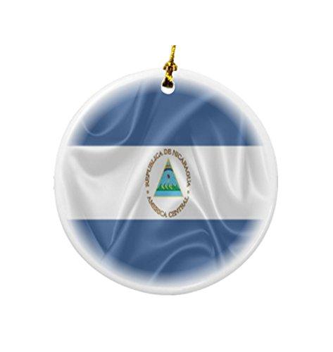 Rikki Knight diseño de Bandera de Nicaragua Ronda a Doble Cara de Porcelana Navidad Ornamentos