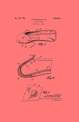Framable Patent Art The Original Ready to Frame Décor Ballet Slipper Dance Shoe Footwear 24in by 36in Patent Art Poster Print Vintage Coral PAPMSP50CR