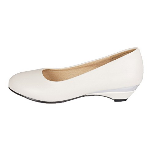 AllhqFashion Womens PU Closed-Toe Low-Heels Solid Pumps-Shoes White 6dxlo