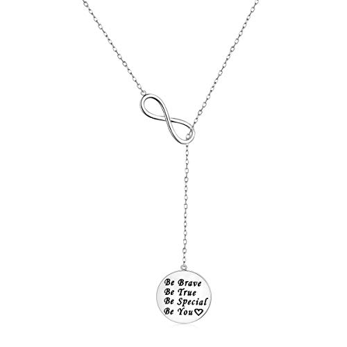 - 925 Sterling Silver Adjustable Round Circle Y Shaped Lariat Necklace for Women, 22-30