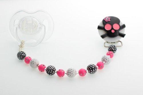 Cristal sueño negro y rosa lazo cuentas de cristal de calavera chupete clip (cskhb) Crystal Dream