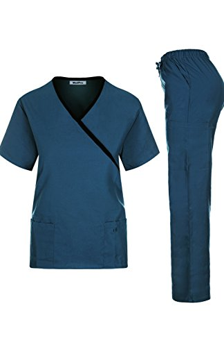 Tie Back Scrub Top - MedPro Women's Solid Medical Scrub Set Mock Wrap Top and Cargo Pants  Teal Black XL