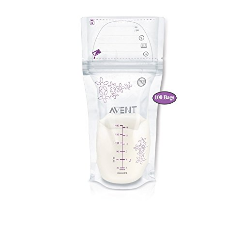 - Philips AVENT Breast Milk Storage Bags, Clear, 6 Ounce, 100 Pack