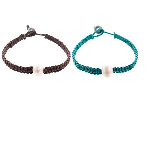 Harmony Freshwater Cultured Pearl Braided Bracelet - Genuine Black and White Cultured Pearls - Great Gifts for Valentine's, Anniversary, Birthday - Bridesmaids Party Favors (Dark Brown & Turquoise)