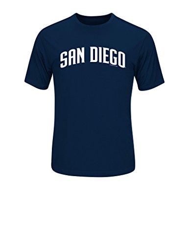 MLB San Diego Padres Men's Synthetic Mass Wordmark Tee, Navy, - Diego Style San Men's
