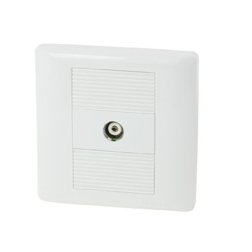 uxcell White Plastic PAL Female Jack TV Aerial Socket Outlet Wall Plate Panel -