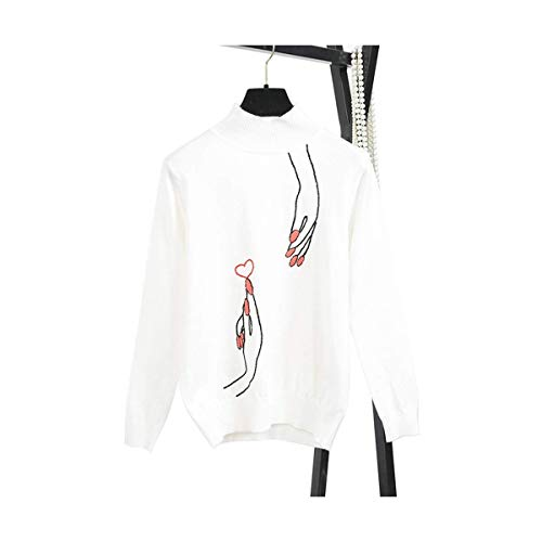 Lunga color Heart Fashion Da Home White Mon5f Fingers Dolcevita Donna White Maglia Size Manica Harajuku Pullover Crochet Little Lady S fBgnnq78Zx