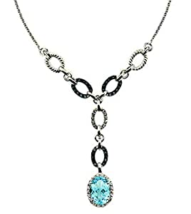 """RB Gems Sterling Silver 925 Necklace Genuine GEMS Oval 18x13 mm 16 Cts Rhodium-Plated Finish 14""""+2"""" Long (Blue-Topaz)"""