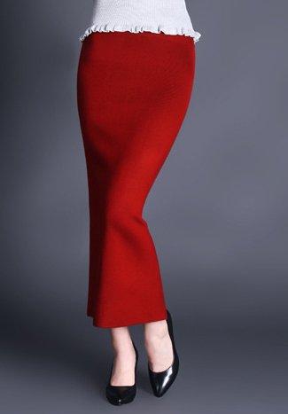 Helan Womens Pure Color Bodycone Long Knitting Back-Split Skirt SKIRT2015112501-G