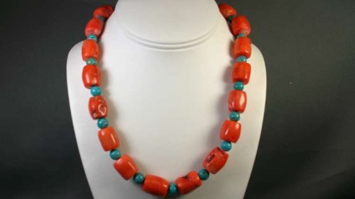 Chunky Turquoise and Coral Ceramic Necklace
