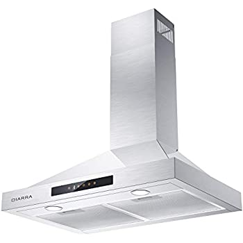 CIARRA Wall Mount Range Hood 30 inch 450 CFM, Touch Control Stainless Steel Stove Vent Hood with 3 Speed Exhausted Fan, Ducted & Ductless Convertible Kitchen Hood