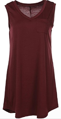 Jaycargogo Tunique Swing Casual Manches Femmes Col V T-shirt Robe Rouge Vin