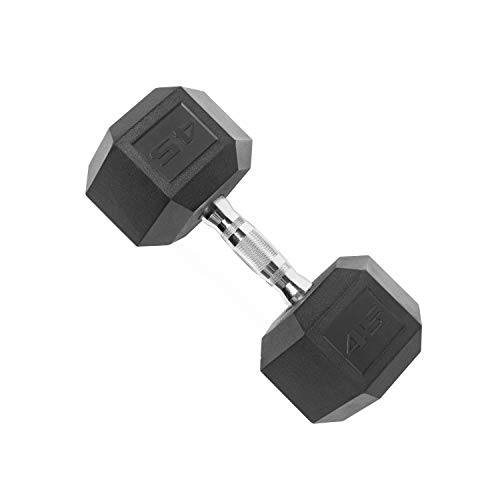 CAP Barbell SDP-045 Color Coated Hex Dumbbell, Black, 45 pound, Single