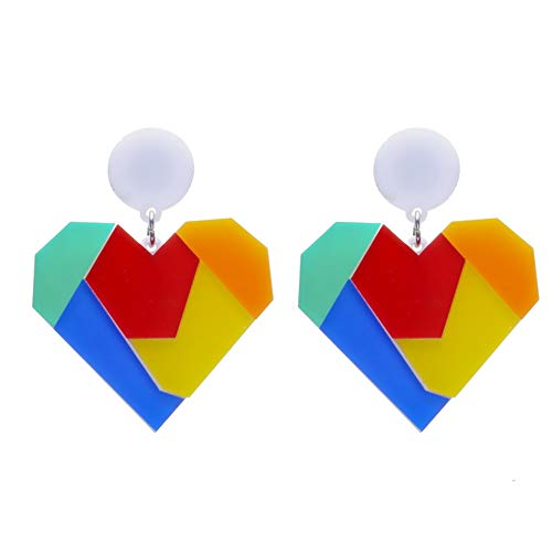 Braceus Studs Earrings Bohemian National Style Long Earrings Hoop Earrings Set Earrings Jewellery Making Fashion Women Color Block Heart Circle Acrylic Pendant Stud Earrings Jewelry Multi-Color ()