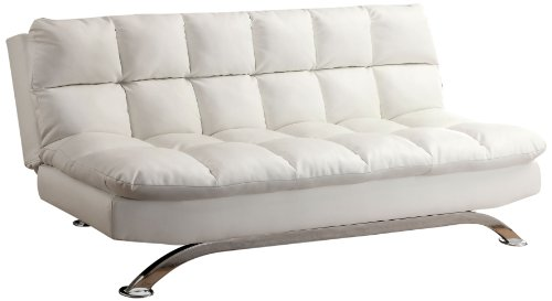 (Furniture of America Ethel Leatherette Convertible Sofa, White)
