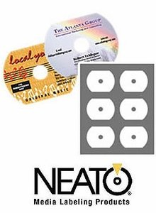 - Genuine Fellowes Neato® Gloss White 62.5mm Business Card CD Label - 100 Pack