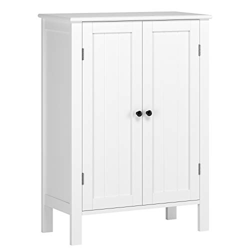 (HOMFA Bathroom Floor Cabinet, Free Standing Side Cabinet Storage Organizer with Double Doors and Adjustable Shelf for Home Office, White)