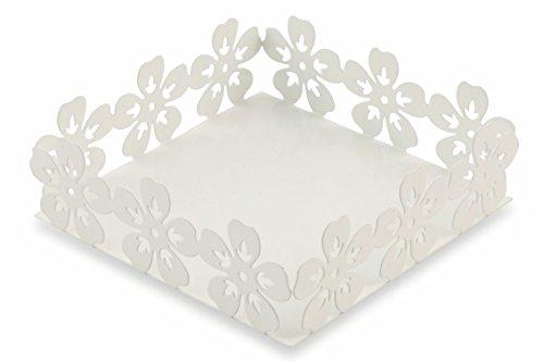 Villa d 'Este Home Tivoli Flowers Napkin Holder, Metal, White Galileo Spa 2413817