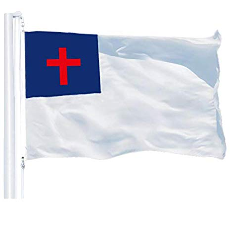 G128 - Christian Flag | 3x5 feet | Printed 150D - Indoor/Outdoor, Vibrant Colors, Brass Grommets, Quality Polyester, Much Thicker More Durable Than 100D 75D Polyester
