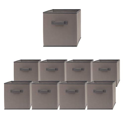 Pomatree Storage Cubes - 9 Pack - Durable and Sturdy Storage Bins with 2 Reinforced Handles | Fabric Cube Baskets for Organizing Closet, Clothes and Toys | Foldable Shelves Organizer (Grey)