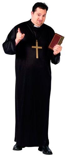 Priest Plus Size Adult Mens Costumes (Fun World Priest Plus Size Costume, Black, Plus)