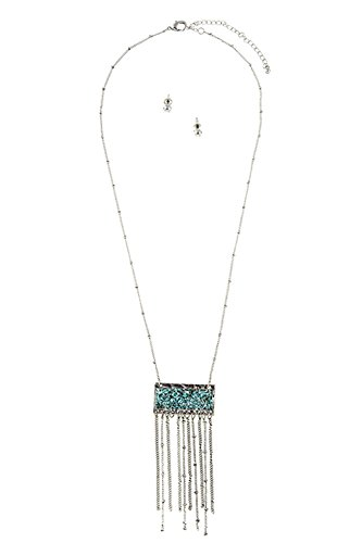 GlitZ Finery FAUX CHIPPED ACCENT STONE PENDANT CHAIN TASSEL NECKLACE SET (Rhodium/Turquoise)