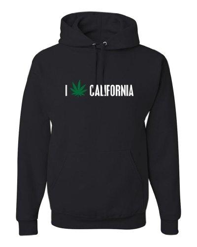 ShirtLoco Men's I Pot Leaf California Hoodie Sweatshirt, Black Extra Large