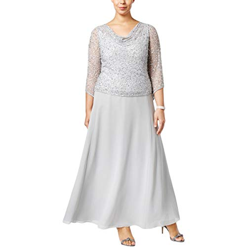 - J Kara Women's Plus Size Long Beaded Dress with Cowl Neck, Silver, 18W