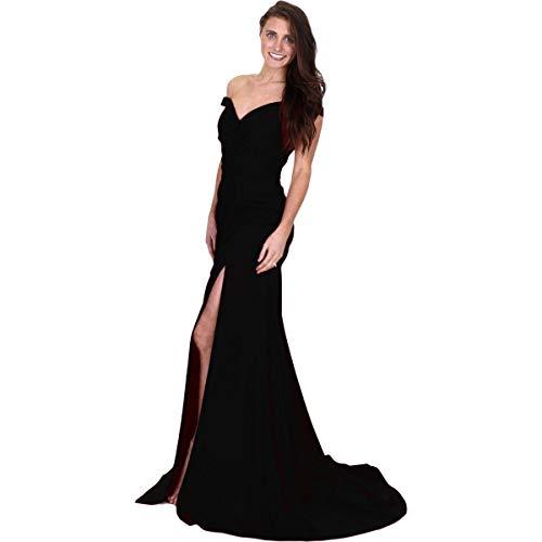 (JVN by Jovani Womens 50409A Prom Off-The-Shoulder Evening Dress Black 2)