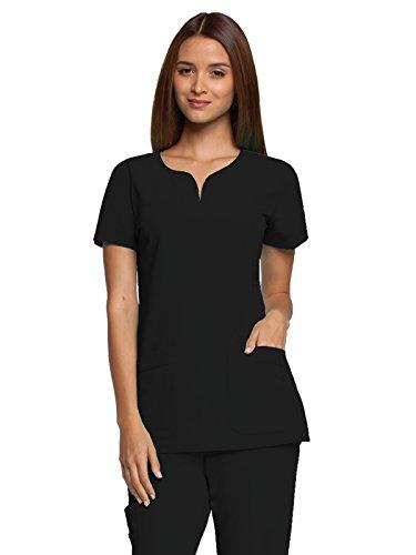 Grey's Anatomy Women's Signature Two Pocket Notch Yoke Neck Scrub Top, Black, Small