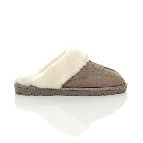 Womens ladies flat low heel winter fur lined slip on luxury mules slippers size Mocha MTKwN1jgJ0