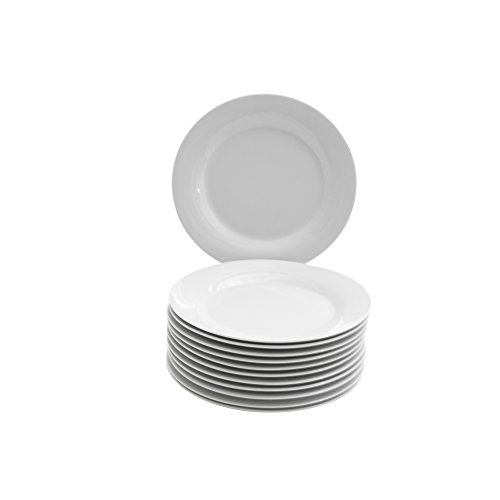 "10 Strawberry Street CATERING-12-SALAD-W 7.5"" Catering Plate (Set of 12), SALAD, White"