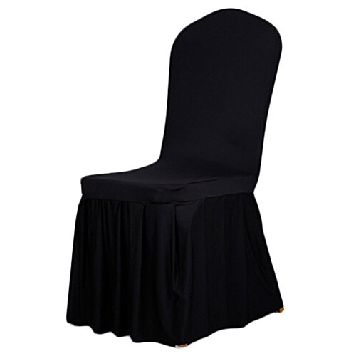 SoulFeel 1 x Long Stretch Spandex Dining Chair Cover Protectors, Super Fit Banquet Chair Seat Slipcovers for Hotel and Wedding Ceremony, Removable & Washable (Black)
