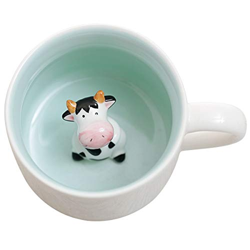3D Cute Animal Coffee Mug, Miniature Animal Figurine Coffee Cup, Cow Inside, 400ml Funny Coffee Mug Novelty Gift for Office Birthday Men Women