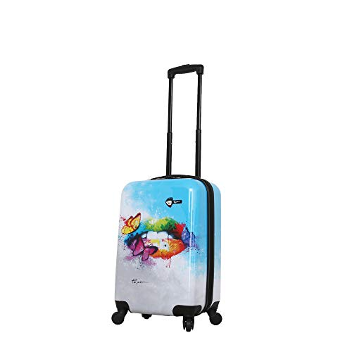 Mia Toro Prado-pop Lips Hardside Spinner Luggage Carry-on, Multi-Colored