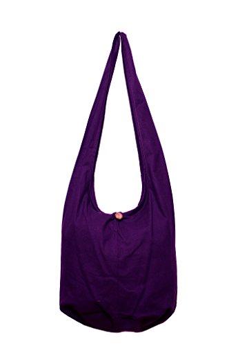 avarada sólido color plano algodón Hippie Hobo Sling Crossbody Bolsa Marrón Púrpura