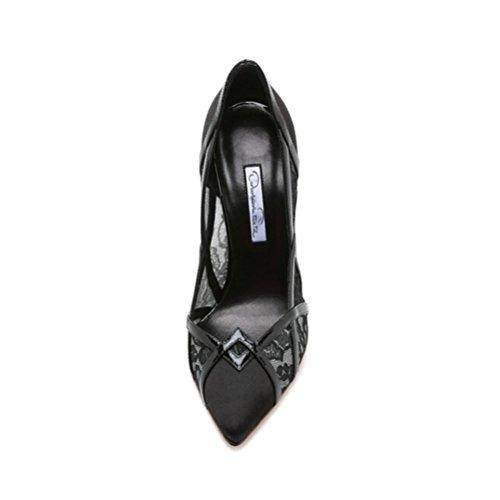 cruz tamaño de boca de Las tacones gran negro altos de mujeres encaje fino zapatos solo la de QPYC en profunda de poco tacón w8AgXqx114