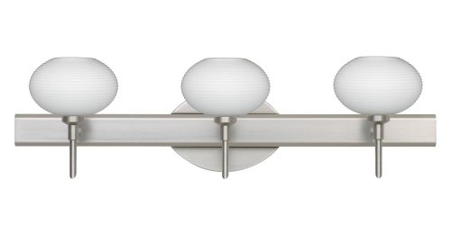 Besa Lighting 3SW-561207-SN Lasso 3-Light Vanity Fixture, Opal Matte Art Glass Shades with Satin Nickel Finish